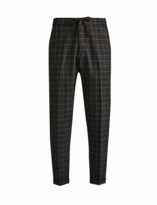 Mens Grey Tapered Fit Check Comfort Trousers, Grey