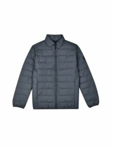 Mens Grey Lightweight Funnel Neck Padded Jacket, MID GREY