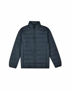 Mens Navy Lightweight Funnel Neck Padded Jacket, Blue