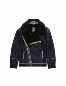 Mens Navy Faux Shearling Jacket, Blue