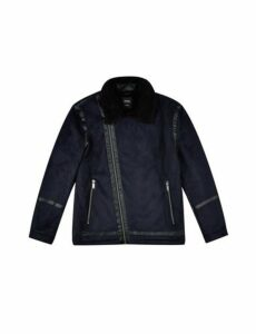 Mens Big & Tall Navy Faux Shearling Jacket, Blue