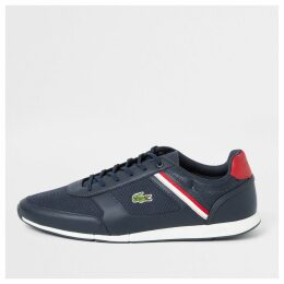 Mens River Island Lacoste Navy Menerva lace-up trainers
