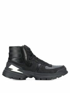 Neil Barrett lightening-bolt hi-top sneakers - Black
