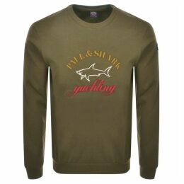 Paul And Shark Crew Neck Logo Sweatshirt Khaki