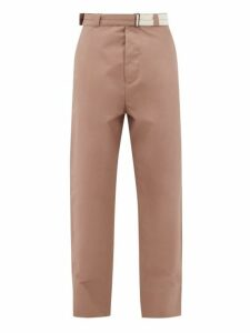 Rochas - Belted Cotton Straight Leg Trousers - Mens - Beige