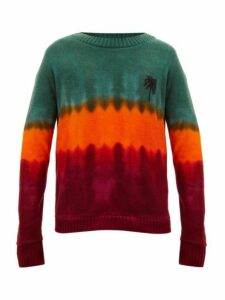 The Elder Statesman - Tie Dyed Palm Tree Motif Cashmere Sweater - Mens - Green Red