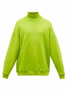 Marques'almeida - High Neck Cotton Blend Jersey Sweatshirt - Mens - Green