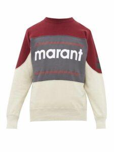 Isabel Marant - Gallianh Logo Print Cotton Blend Sweatshirt - Mens - Burgundy