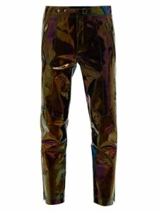 Givenchy - Iridescent Leather Straight Leg Trousers - Mens - Black