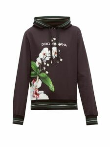 Dolce & Gabbana - Orchid Print Logo Cotton Hooded Sweatshirt - Mens - Black