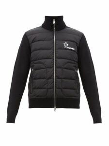 Moncler - Logo Print Quilted Zip Up Track Top - Mens - Black