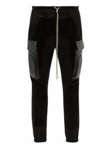 Rick Owens - Suede Trimmed Cotton Blend Cargo Trousers - Mens - Black