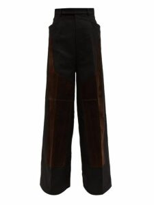 Rick Owens - Oversized Patchworked Cotton Twill Trousers - Mens - Black Brown