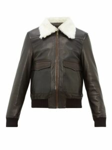 Wales Bonner - Shearling Collar Leather Aviator Jacket - Mens - Black Green