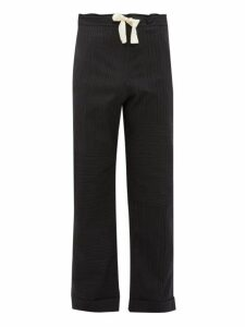 Wales Bonner - Panelled Striped Wool Blend Trousers - Mens - Black Grey