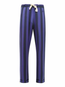 Wales Bonner - Ritual Striped Charmeuse Pyjama Trousers - Mens - Navy