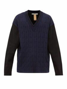 Eytys - Exodus V Neck Cable Knit Sweater - Mens - Black Blue
