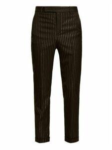 Saint Laurent - Metallic Pinstripe Wool Blend Twill Trousers - Mens - Black Gold