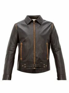 Saint Laurent - Metallic Piped Leather Jacket - Mens - Black