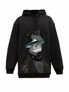Valentino - X Undercover Ufo Cotton Blend Hooded Sweatshirt - Mens - Black