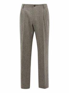 Dolce & Gabbana - High Rise Wool Blend Tweed Trousers - Mens - Grey