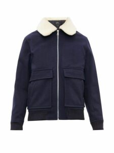 A.p.c. - Bronze Wool Blend Bomber Jacket - Mens - Navy