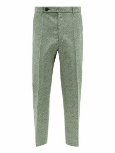 Namacheko - Shil Wool Blend Straight Leg Trousers - Mens - Green