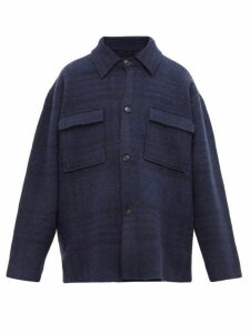 Jacquemus - Check Single Breasted Felted Jacket - Mens - Navy