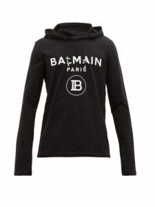 Balmain - Logo Embossed Cotton Hooded Sweatshirt - Mens - Black