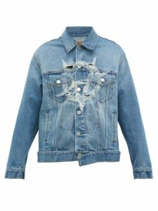 Vetements - Anarchy Distressed Logo Cotton Denim Jacket - Mens - Blue