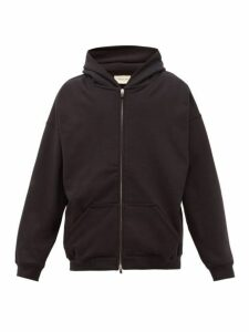 Fear Of God - Logo Plaque Zip Through Cotton Hooded Sweatshirt - Mens - Black