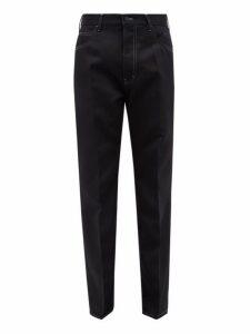 Marni - Contrast Stitching Straight Leg Trousers - Mens - Blue Multi