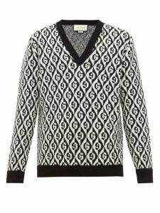 Gucci - Rhombi Jacquard Pattern Wool Sweater - Mens - Black White