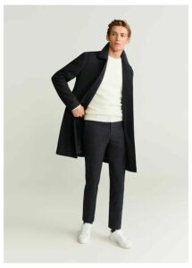Slim fit checked structured trousers