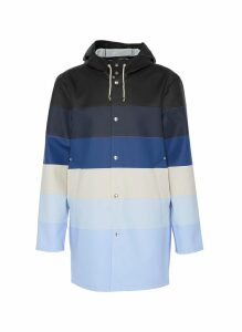 'Stockholm' colourblock stripe hooded unisex raincoat