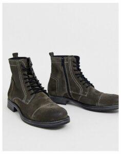 Jack & Jones suede military boots in black