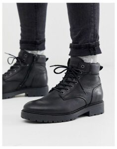 Jack & Jones lace up boots in black