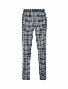 Mens Fōr Grey Graphic Check Trousers*, Grey
