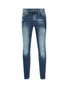 Mens Mid Blue Distressed Tyler Skinny Fit Jeans, Blue