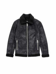 Mens Black Pu Faux Shearling Jacket, Black