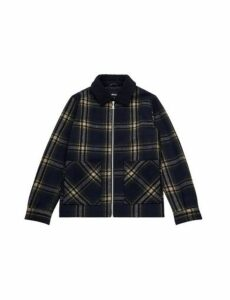 Mens Navy Borg Collared Checkered Jacket, Blue