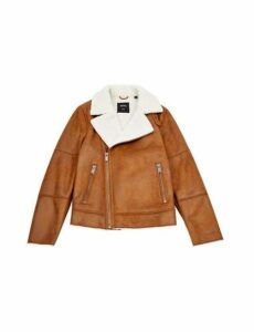 Mens Brown Faux Shearling Jacket, BROWN