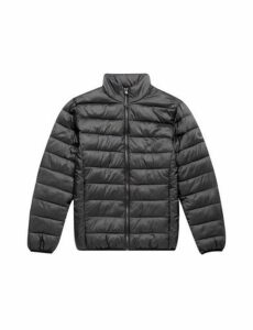 Mens Black Lightweight Funnel Neck Puffer Jacket, Black
