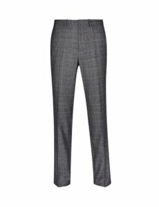 Mens Grey And Blue Tailored Fit Check Suit Trousers, GREY