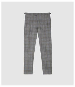 Reiss Ringmer - Checked Slim Fit Trousers in Grey, Mens, Size 38