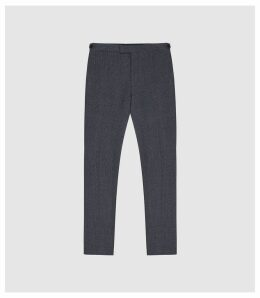 Reiss Pavese - Textured Slim Fit Trousers in Navy, Mens, Size 38