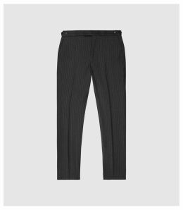 Reiss Salan - Slim Fit Pin Stripe Trousers in Charcoal, Mens, Size 38