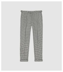 Reiss Carp - Checked Slim Fit Trousers in Brown, Mens, Size 38