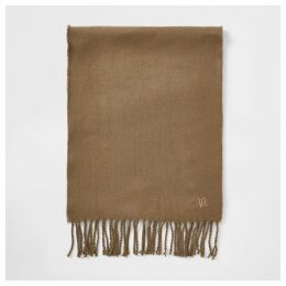 Mens River Island Brown RVR embroidered scarf