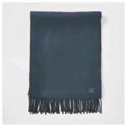Mens River Island Blue RVR embroidered scarf